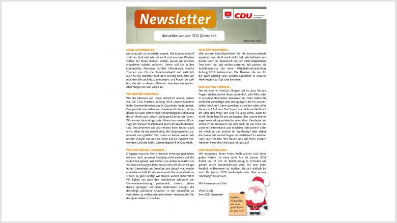 Newsletter der CDU Quarnbek